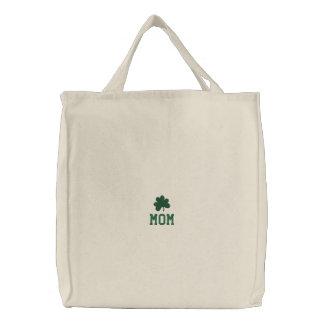 Embroidered Tote Bag-Shamrock-Mom