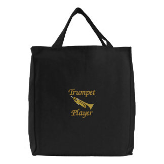 Embroidered Trumpet Player Tote Bag
