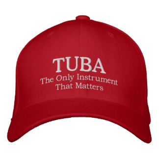 Embroidered Tuba Hat With Instrument Quote