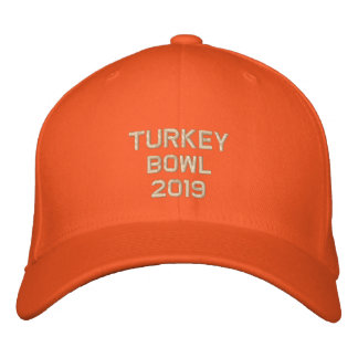 Embroidered Turkey Bowl  - Change to Current Year Embroidered Baseball Caps
