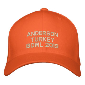 Embroidered Turkey Bowl  - Change to Current Year Embroidered Cap