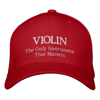 Embroidered Violin Hat With Slogan Embroidered Hat