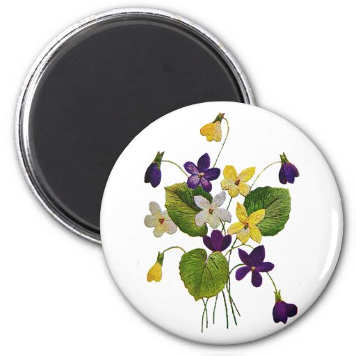 Embroidered White, Yellow and Purple Violets Magnets