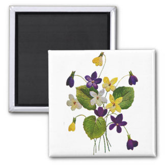 Embroidered White, Yellow and Purple Violets Square Magnet