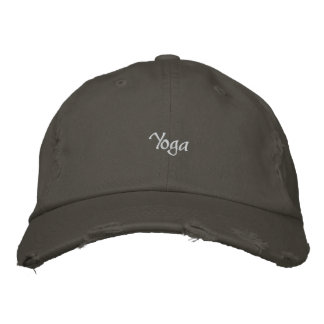 EMBROIDERED YOGA DISTRESSED CAP EMBROIDERED BASEBALL CAPS