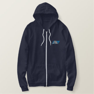 Embroidery 100129 2c light Silver & Blue. Embroidered Hoodie