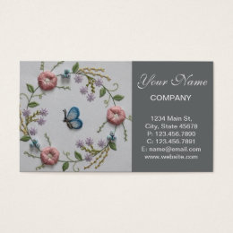 Embroidery business cards business card printing zazzle embroidery floral and butterfly business card colourmoves Choice Image