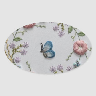 Embroidery Floral and Butterfly Oval Sticker