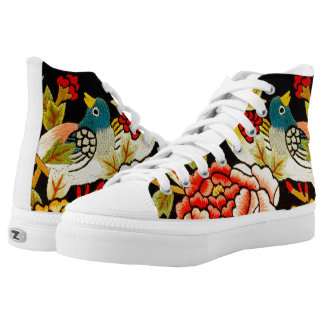 embroidery Hand made flower High Tops
