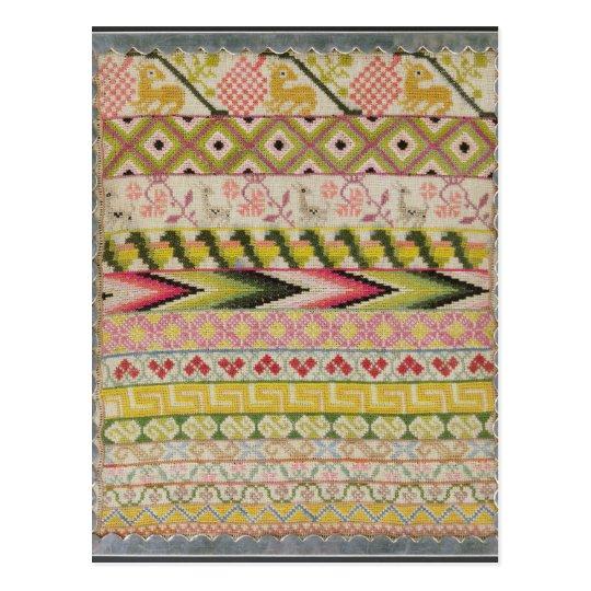 Embroidery sampler postcard