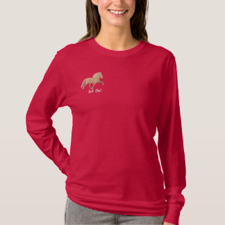 Embroidery Shaded  Tan Icelandic Embroidered Long Sleeve T-Shirt