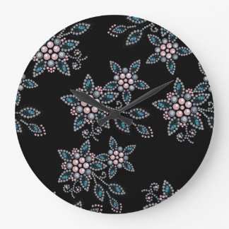Embroidery with beads and pearls large clock