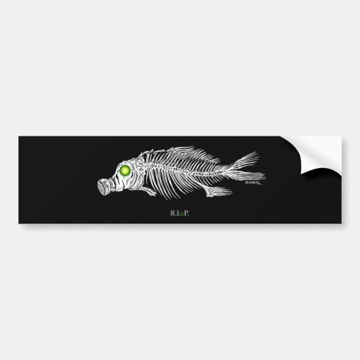 emek_bp_fish_gasmask_sticker car bumper sticker