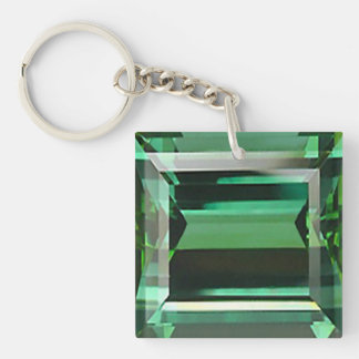 Emerald 3 Double-Sided square acrylic key ring
