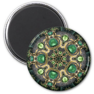 Emerald and Gold Kaleidoscope 6 Cm Round Magnet