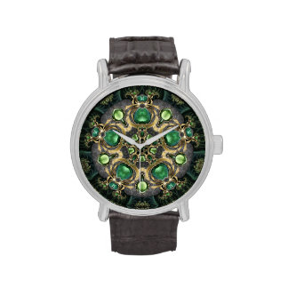 Emerald and Gold Kaleidoscope Wrist Watches
