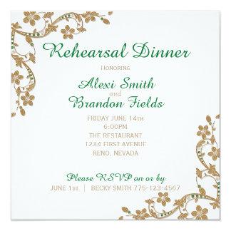 Emerald and Gold Wedding Rehersal Dinner 13 Cm X 13 Cm Square Invitation Card