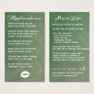 Emerald and White Lip Sales Card