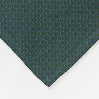 Emerald Art Nouveau Peacock Drops Pattern Fleece Blanket