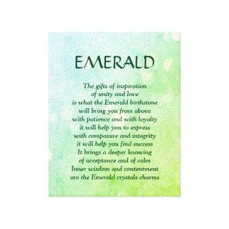 Emerald birthstone - May poem art canvas