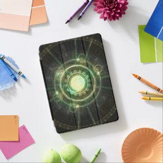 Emerald Chaos Clock, Steampunk Spellshaper Fractal iPad Pro Cover