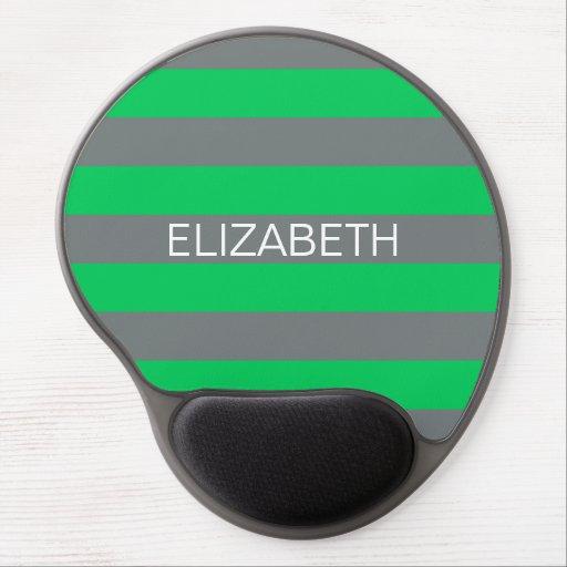 Emerald Charcoal Horiz Preppy Stripe Name Monogram Gel Mouse Pads