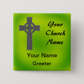 Emerald Church Greeter Nametags with Celtic Cross 15 Cm Square Badge