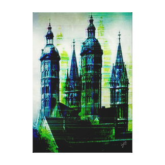 Emerald City Gothic Spires Glitch Art Canvas Print