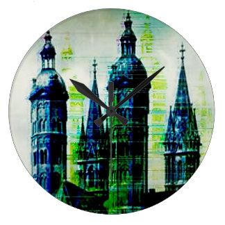 Emerald City Gothic Spires Glitch Art Large Clock