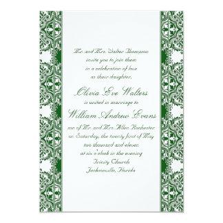 Emerald Damask Wedding Invitation