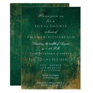 Emerald Deep Green Distressed Grungy Gold Bridal Card