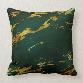 Emerald Deep Green Earth Tones Gold Marble Cushion