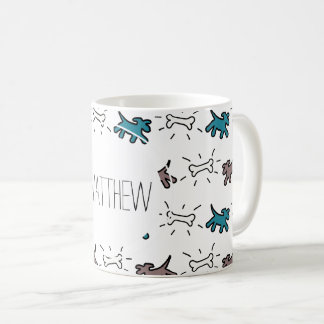 Emerald Dog Bone Graffiti Style Personalized Mug