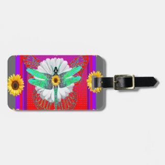 emerald dragonfly sunflower art luggage tag