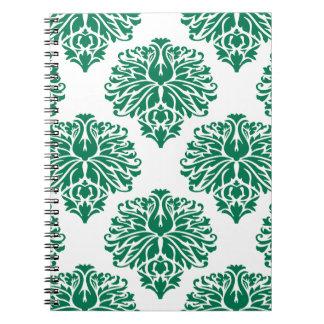 Emerald Elegant Damask Spiral Notebooks