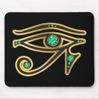 Emerald Eye of Ra in Gold Mouse Pad