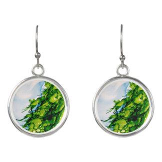 """Emerald Fir"" Silver Holiday Earrings"