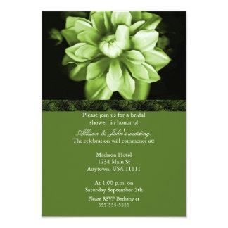 "Emerald Floral Bloom Bridal Shower Invitation 3.5"" X 5"" Invitation Card"