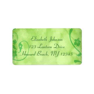 Emerald Floral Shamrocks Address Label