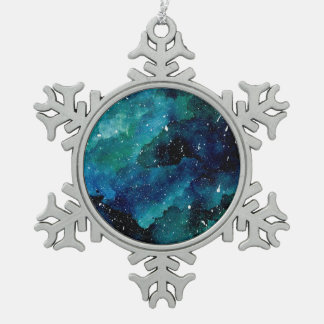 Emerald Galaxy Snowflake Pewter Christmas Ornament