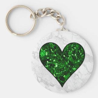 Emerald Gem Heart Basic Round Button Key Ring