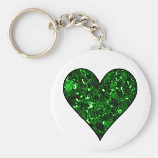 Emerald Gem Heart Keychains