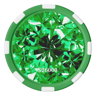 Emerald Gem Stone Clay Poker Chip Stripe Edge Poker Chip Set