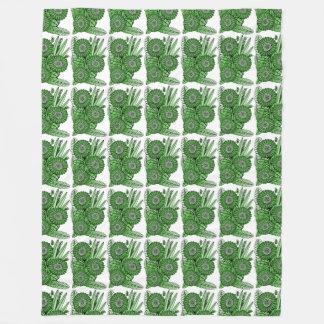 Emerald Gerbera Daisy Flower Bouquet Fleece Blanket