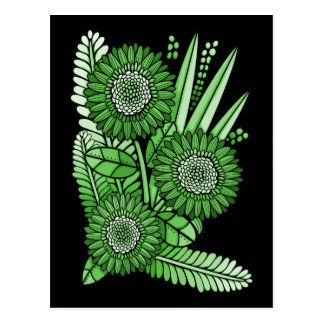 Emerald Gerbera Daisy Flower Bouquet Postcard