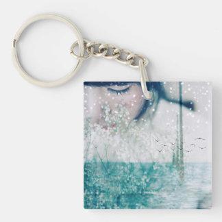 Emerald Girl Green White Ocean double-sided Key Ring