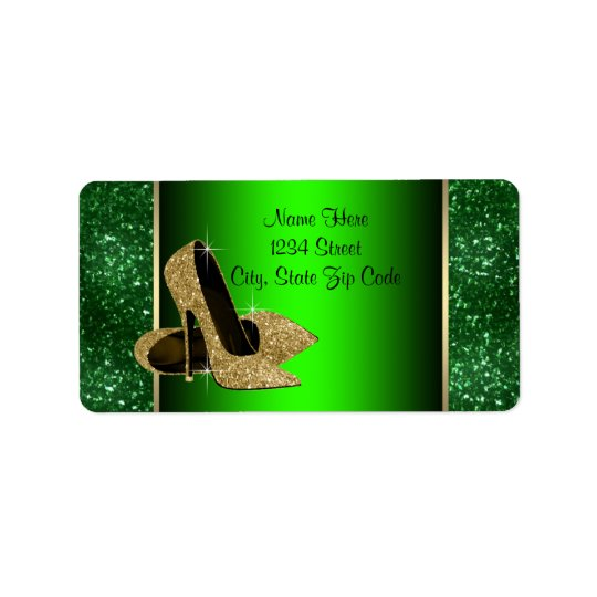 Emerald Green and Gold High Heel Shoe Address Label