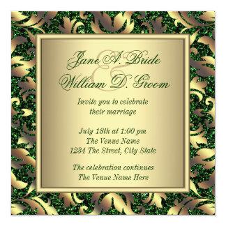"Emerald Green and Gold Wedding 5.25"" Square Invitation Card"