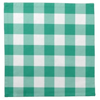 Emerald Green And White Gingham Checks Pattern Napkin