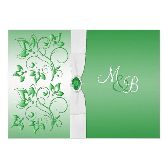 Emerald Green and White II Monogram Invite